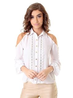 White Tulle and Lace Shirt front