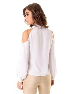 White Tulle and Lace Shirt back