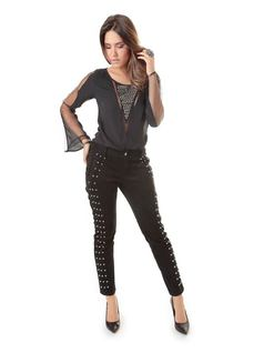 Skinny Pants with Black Details front