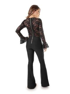 Black Lace Overalls back