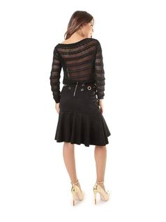 Black Skirt with Eyelets back