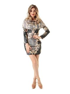 Plush Printed Dress front