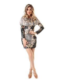 Plush Printed Dress front