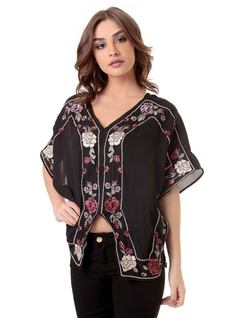 BLOUSE WITH FLORAL EMBROIDERY front