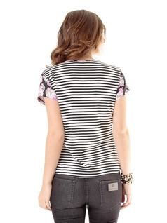 Striped Printed T-Shirt with Pockets back