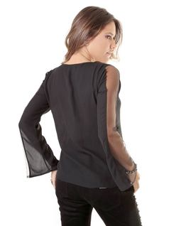 BLOUSE WITH EMBROIDERED NECKLINE back