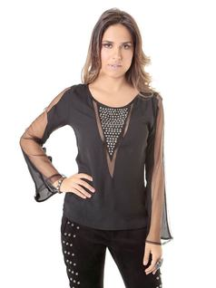 BLOUSE WITH EMBROIDERED NECKLINE front