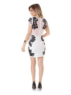 B&W Embroidered Dress back