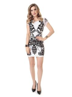 B&W Embroidered Dress front