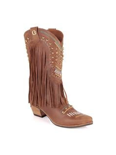 BOOT WITH FRINGES AND EMBROIDERY front