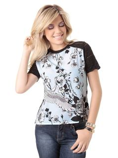 SHORT-SLEEVE BLOUSE WITH PRINT