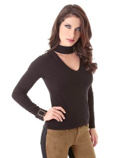 Black Long-Sleeved Blouse front