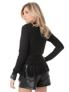 LONG-SLEEVE KNIT BLOUSE WITH FRINGES back