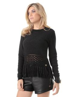 LONG-SLEEVE KNIT BLOUSE WITH FRINGES front