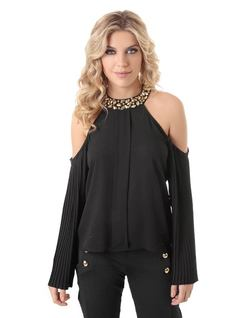PLEATED BLOUSE WITH EMBROIDERY front