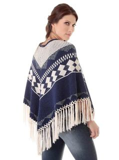 Natural Blue Knit Poncho back