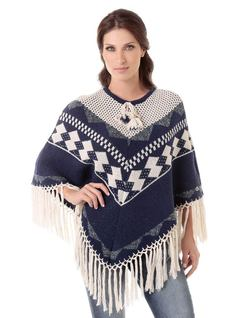 Natural Blue Knit Poncho front