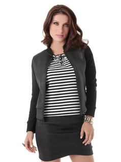 Jacket with Black Neckline and Cuffs front