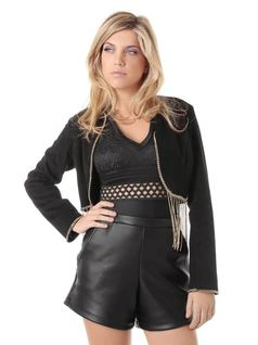 Black Jacket with Fringes and Chain front