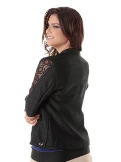 Black Blazer with Lace Details back