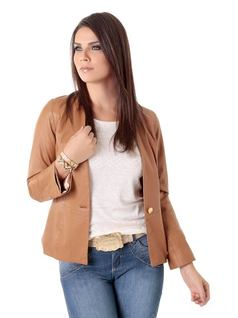 Caramel Leather Jacket front