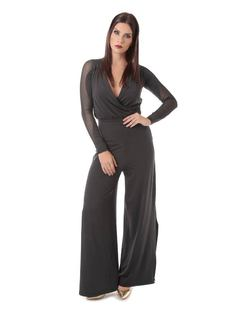 Long Black Overalls with Cutouts front